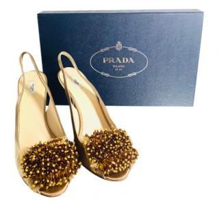 Prada Bead Pom Pom Embellished Satin Slingback Sandals
