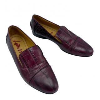 Lanvin Burgundy Alligator leather shoes