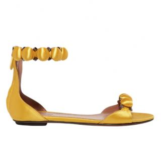 Alaia Yellow Satin Flat Bombe Sandals