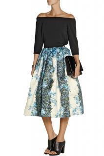 Tibi Silk Gazar Floral Print Midi Skirt