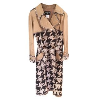 Chanel Beige Trenchcoat With Tweed Houndstooth panels