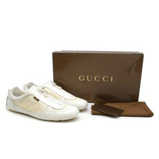 Gucci White & Cream Canvas & Leather Zip Front Trainers