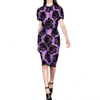 Christopher Kane Floral Print Leather Trim Dress