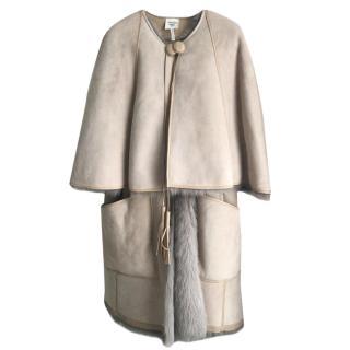 Hermes natural sheepskin cape coat
