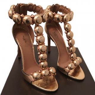 Alaia Metallic Bronze Bombe 110 Sandals