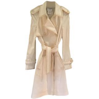 Chanel White Tweed Trim Vintage Trench Coat