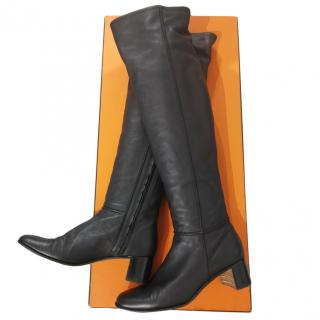 Hermes black leather over the knees boots