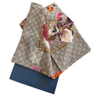 Gucci Supreme Floral Print Wool Scarf
