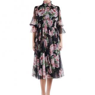 Dolce & Gabbana Silk Chiffon Rose Print Midi Dress