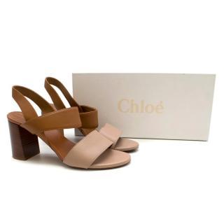 Chloe Two Tone Block Heeled Sandals