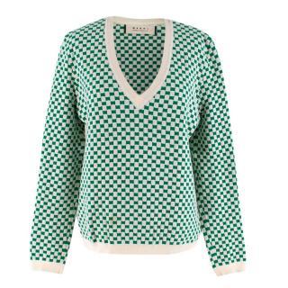Marni Green and White Checkered Jumper