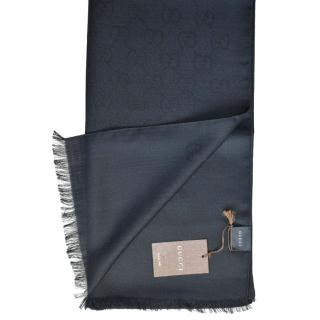 Gucci Black Monogram Silk & Wool Scarf