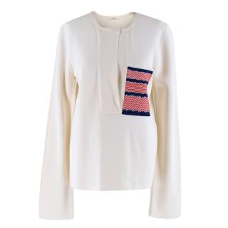 Celine Silk Blend Blouse with Silk Knit Patch Pocket