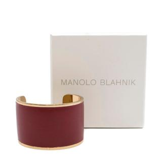 Manolo Blahnik Gold Tone Red Leather Cuff