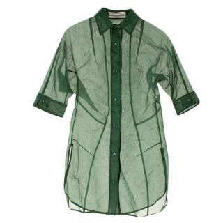 Yves Saint Laurent Green Organza Sheer Blouse