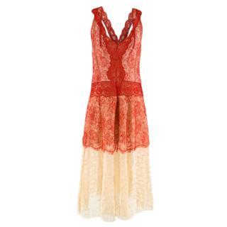 Stella McCartney Red & Nude Lace Sleeveless Dress