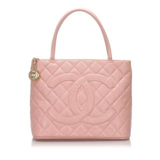 Chanel Caviar Leather Pale Pink Medallion Tote Bag