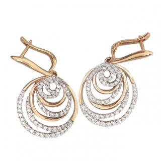 Bespoke Fine Diamond and yellow gold pierced drop earrings