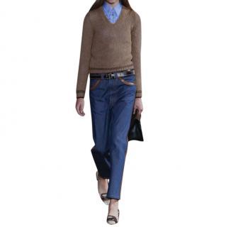 Prada leather trim jeans
