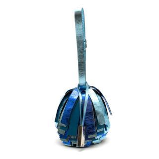 Calvin Klein 250W39NYC Blue Leather Pom Pom Bag/Belt Charm