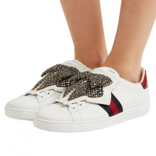 Gucci Crystal Embellished Ace Sneakers