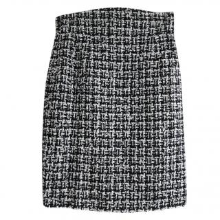 Chanel black and white tweed pencil skirt