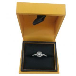 Goldsmiths 18 carat 0.65 ct white gold princess halo ring