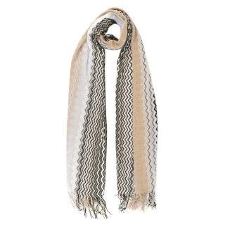 Missoni Zig-Zag Knit Fringe Scarf