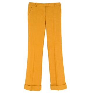 3.1 Philip Lim Mustard Straight Leg Textured Trousers