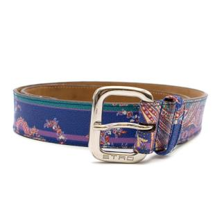 Etro Blue Paisley Print Belt