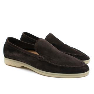 Loro Piana Brown Summer Walk Suede Loafers