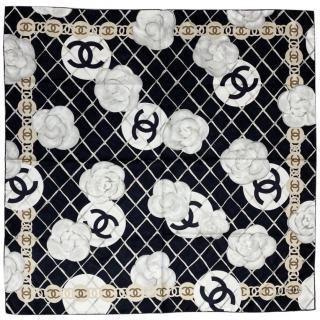 Chanel Silk Camellia Print Scarf