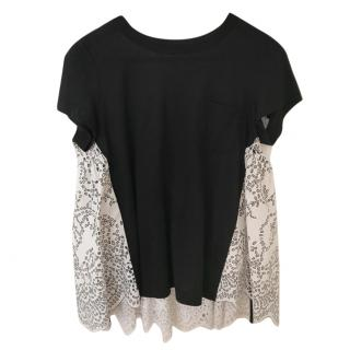 Sacai Black Paisley Print Back T-Shirt