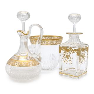 Hermes St Louis Thistle Gold Champagne Bucket & Wine Decanter Set