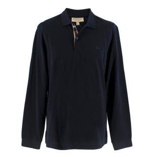 Burberry Navy Long Sleeve Polo Shirt