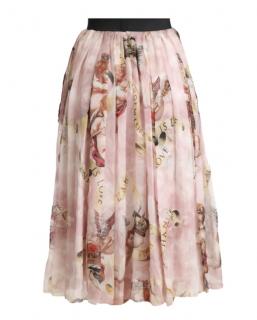 Dolce & Gabbana Tulle Cherub Print Midi Skirt