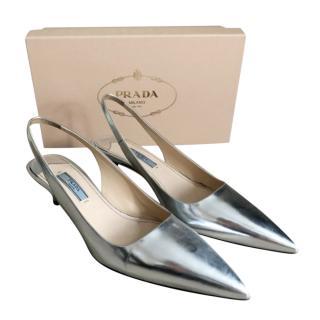 Prada Silver Metallic Slingback Sandals