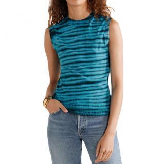 Agolde Tie-Dye Cotton Tank In Blue