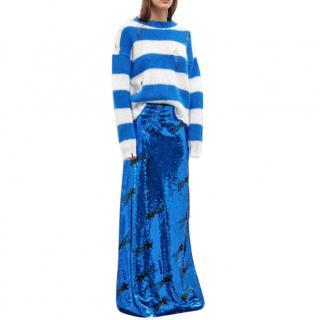 Filles A Papa Blue Sequin Maxi Skirt