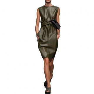 Sportmax Olive Leather Bow Dress