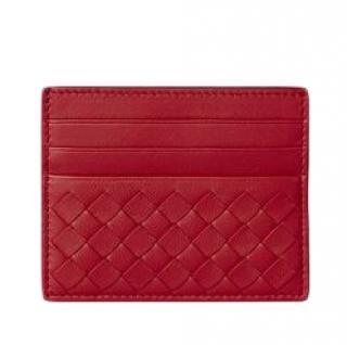 Bottega Veneta China Red Intreciatto Card Case