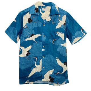 Percival Blue Bird Print Shirt