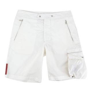 Prada Sport White Belted Men's Shorts