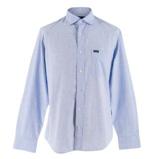 Faconnable Blue Cotton Shirt with Contrasting Elbow Patch
