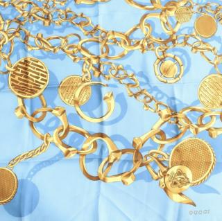 Gucci blue & gold chain print silk scarf
