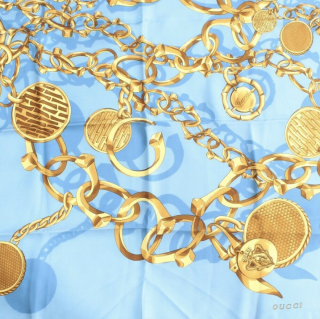Gucci blue & gold chain print silk scarf