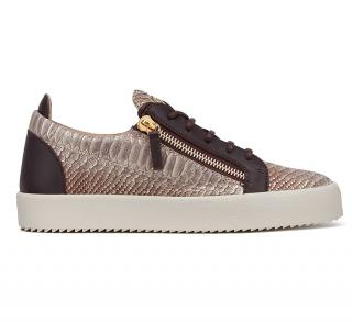Giuseppe Zanotti Natural python-embossed leather low-top sneakers