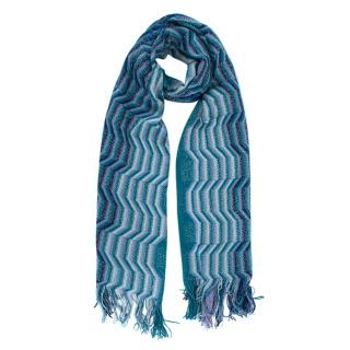 Missoni Blue Fringed Zig Zag Knit Scarf