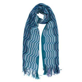 Missoni Blue Fringed Zig Zag Knit Scarf