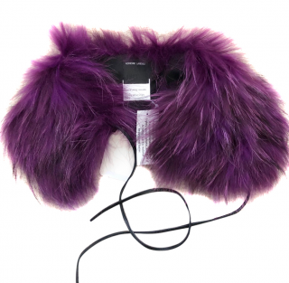 Adrienne Landau Purple Raccoon Fur Collar
